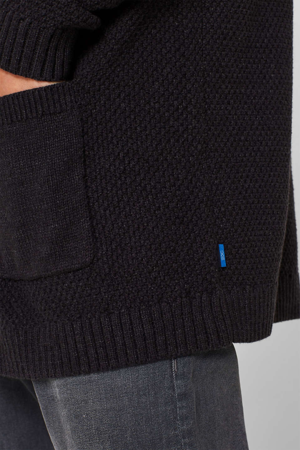 Open cardigan made of a textured knit, DARK GREY, detail image number 2