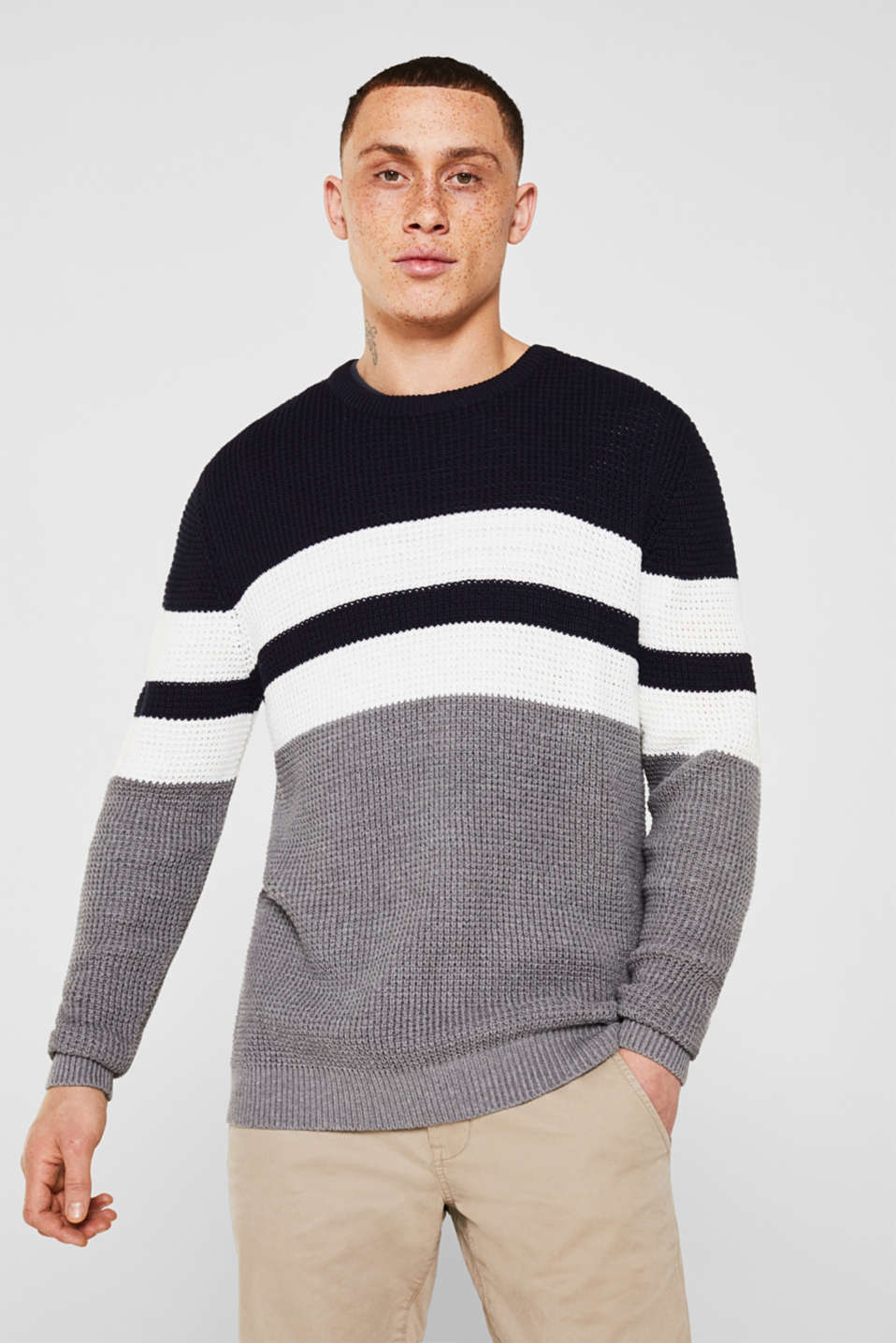 edc - Striped jumper in a textured knit
