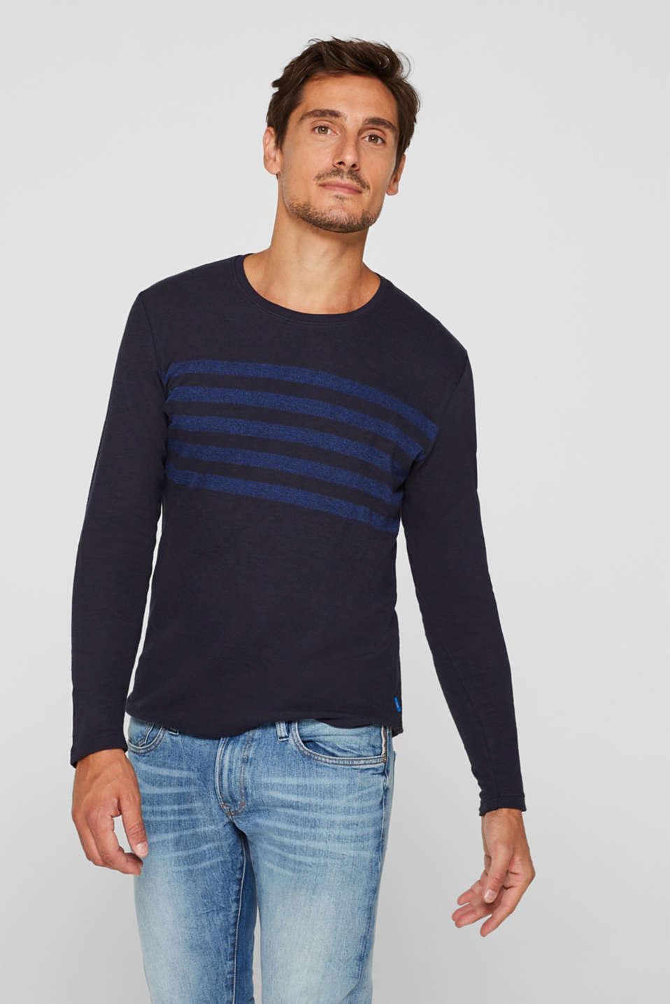Jersey long sleeve top with stripes, NAVY, detail image number 0