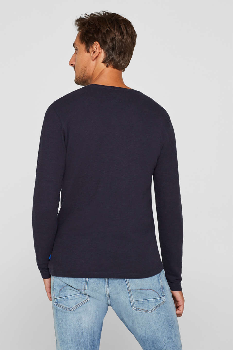 Jersey long sleeve top with stripes, NAVY, detail image number 3