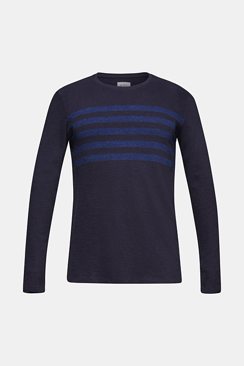 Jersey long sleeve top with stripes