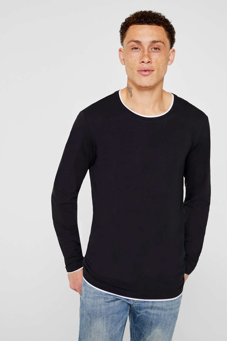 Long sleeve top made of stretch cotton-jersey, BLACK, detail image number 0