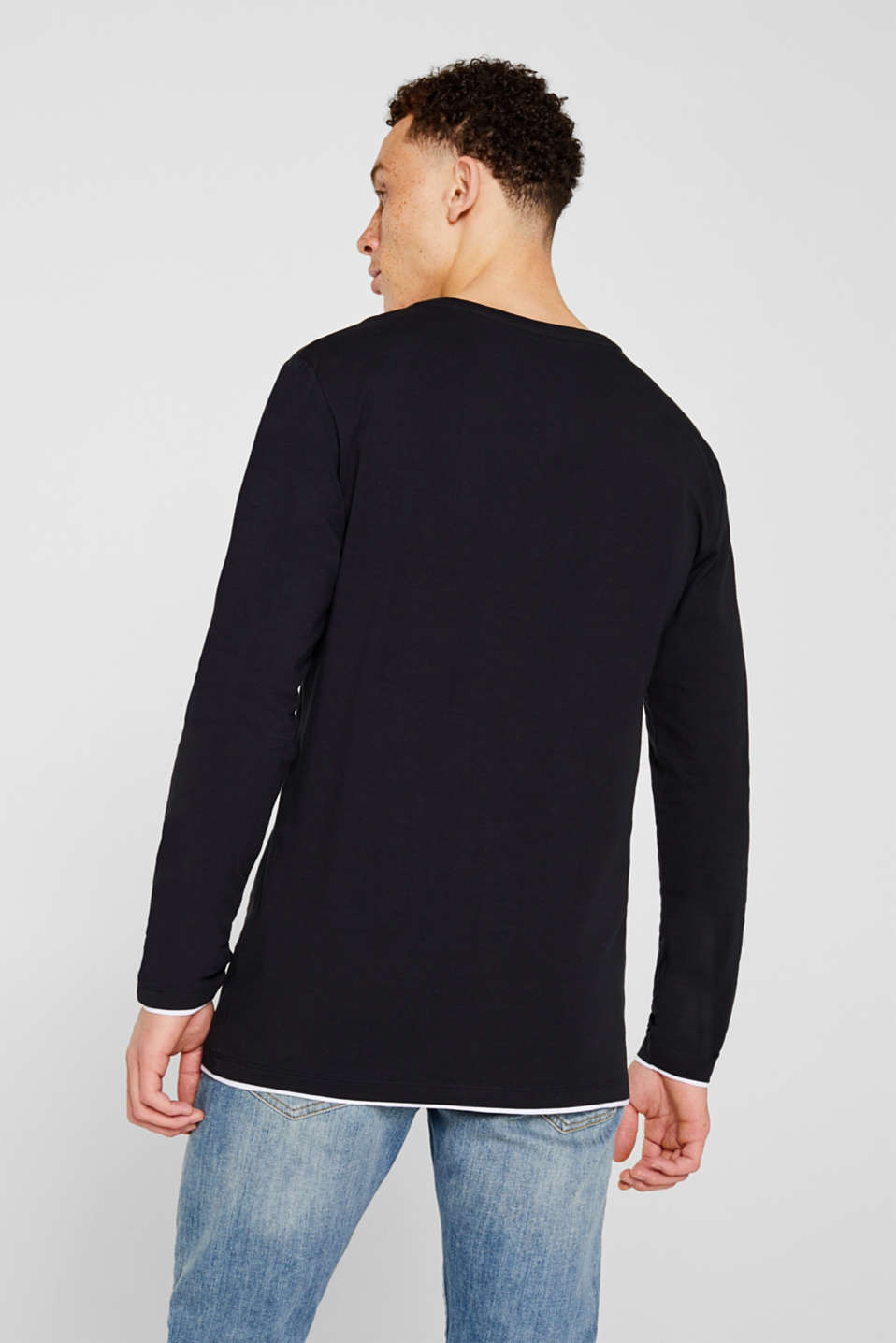 Long sleeve top made of stretch cotton-jersey, BLACK, detail image number 3