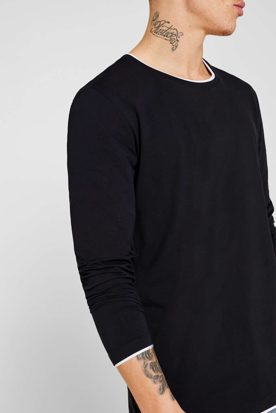 Long sleeve top made of stretch cotton-jersey, BLACK, detail image number 1