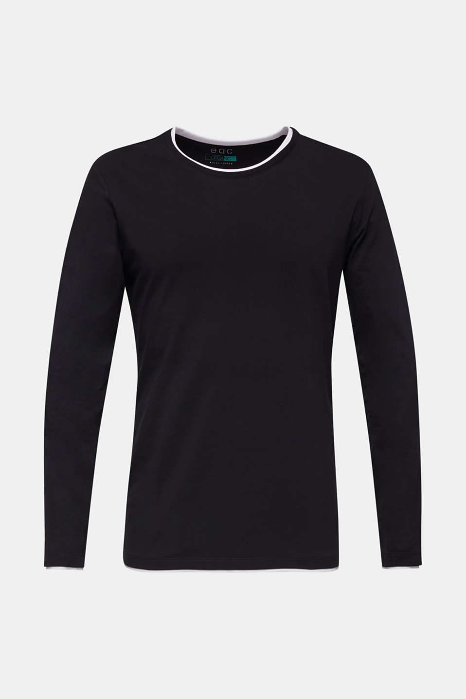 Long sleeve top made of stretch cotton-jersey, BLACK, detail image number 6