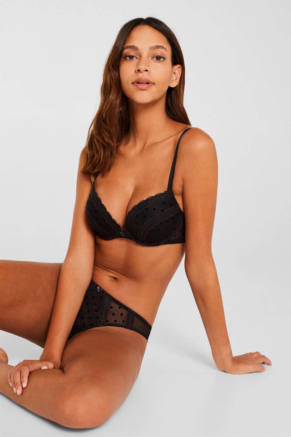 Push-up bra in mesh with velvet polka dots, BLACK, detail image number 2