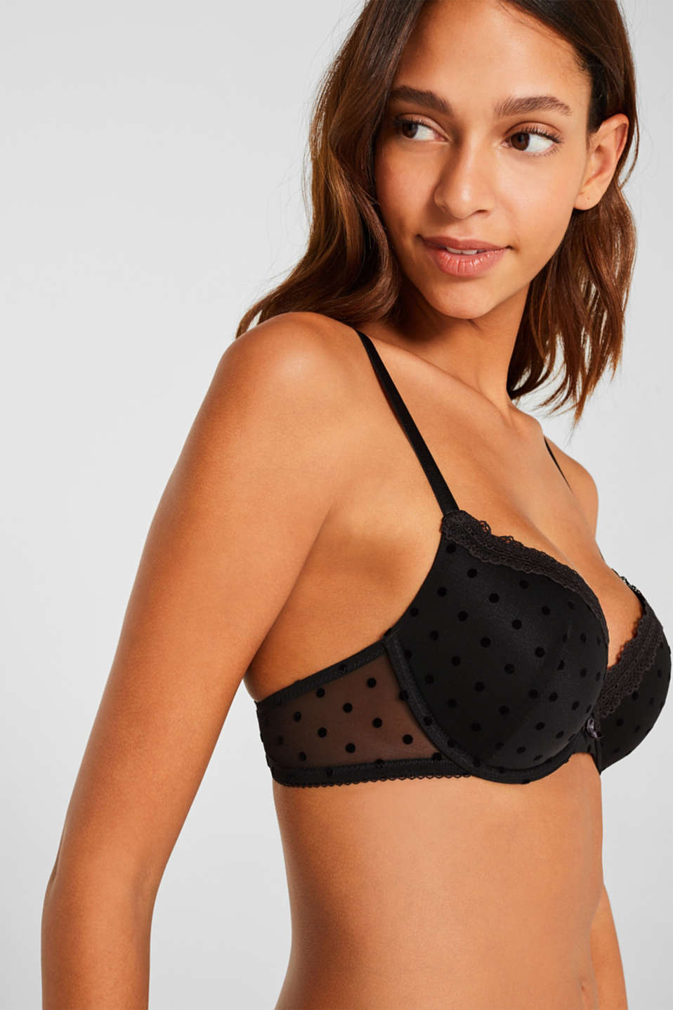 Padded underwire bra made of mesh, BLACK, detail image number 3
