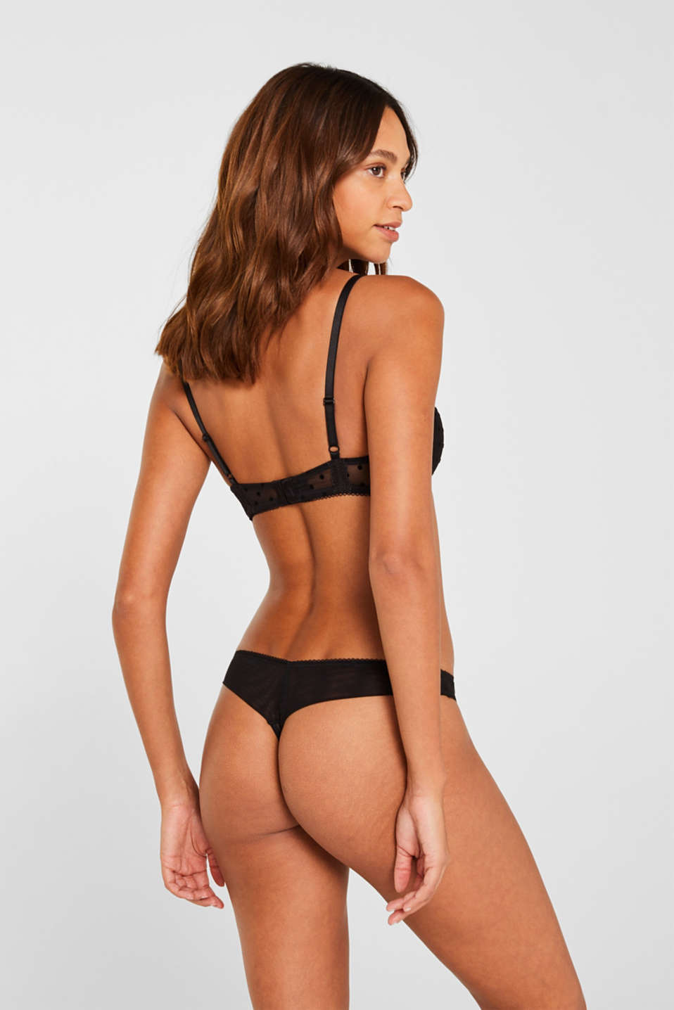 Hipster thong in mesh with polka dots, BLACK, detail image number 2