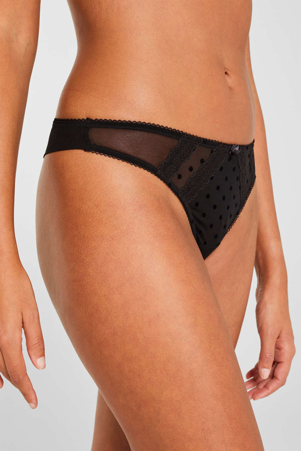 Hipster thong in mesh with polka dots, BLACK, detail image number 1