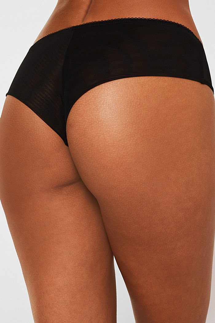 Mesh shorts with velvet polka dots, BLACK, detail image number 3
