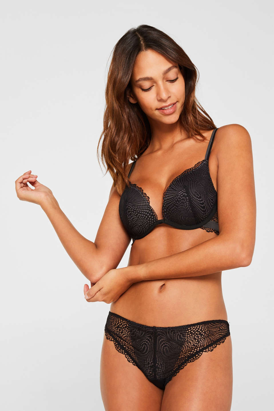 Push-up bra made of crocheted lace, BLACK, detail image number 0