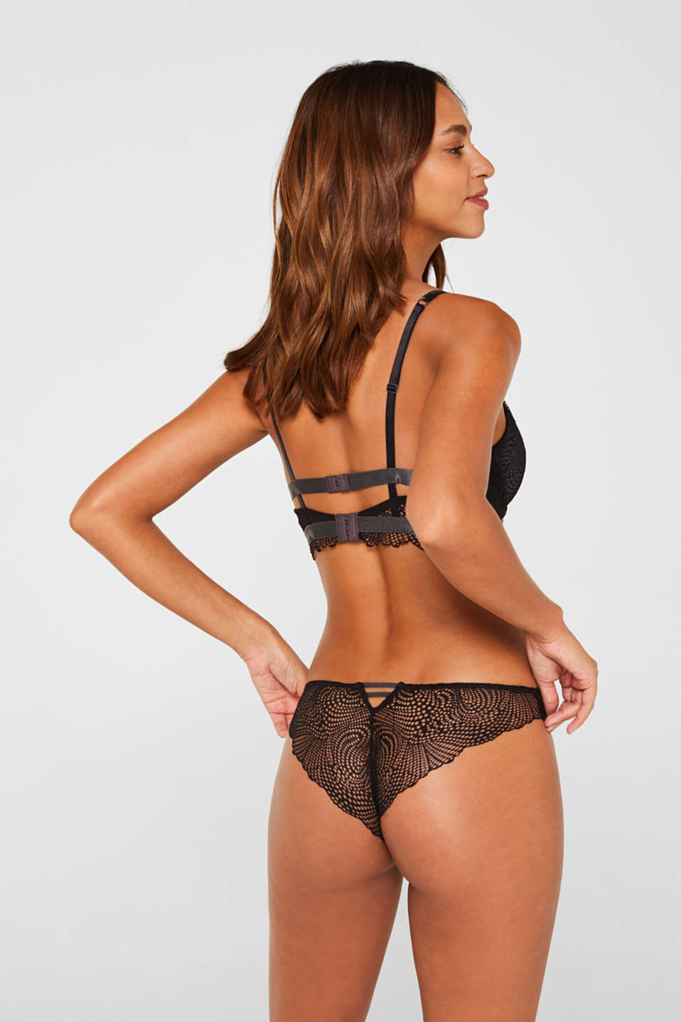 Padded underwire bra in crocheted lace, BLACK, detail image number 1