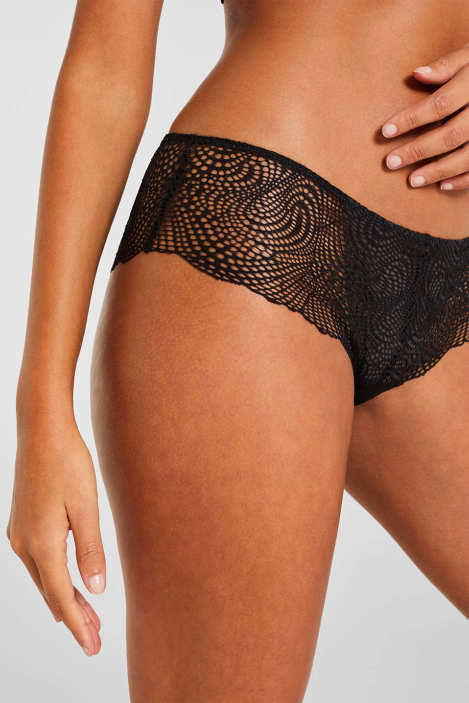 Hipster shorts in crocheted lace, BLACK, detail image number 1