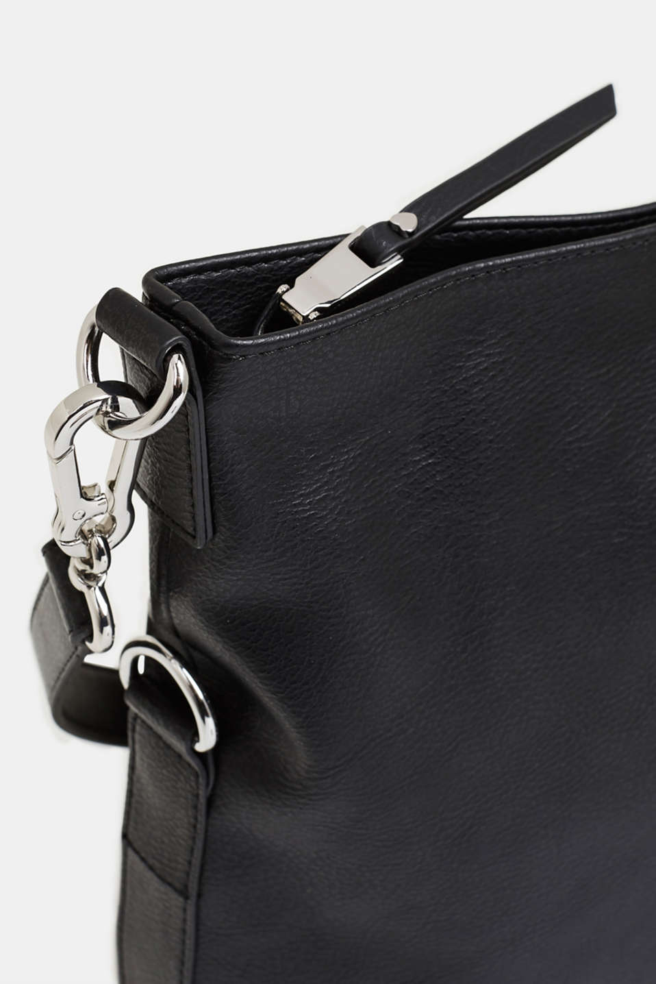 Faux leather shoulder bag, BLACK, detail image number 3