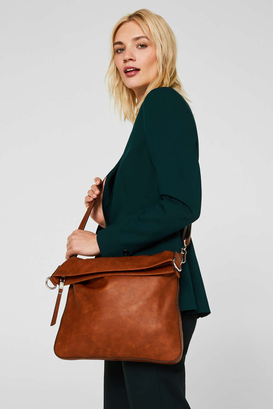 Faux leather shoulder bag, RUST BROWN, detail image number 1