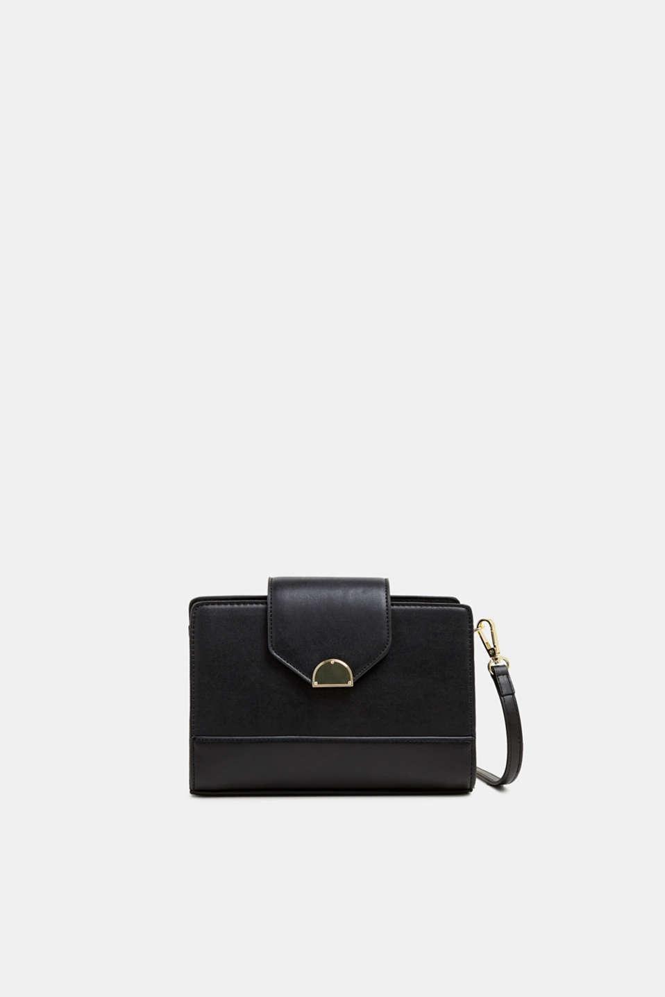 Small faux leather shoulder bag, BLACK, detail image number 0