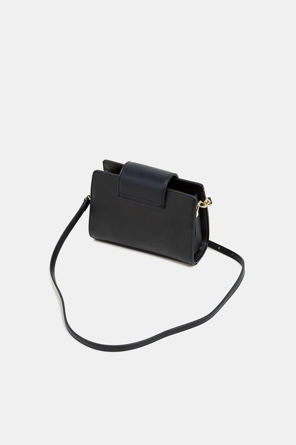 Small faux leather shoulder bag, BLACK, detail image number 5
