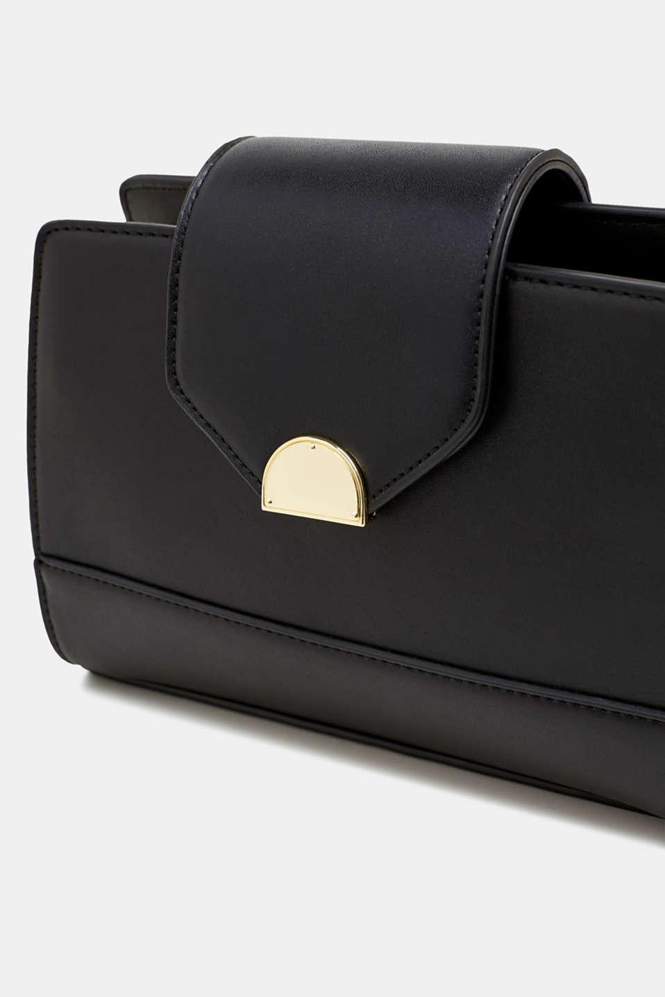 Small faux leather shoulder bag, BLACK, detail image number 3