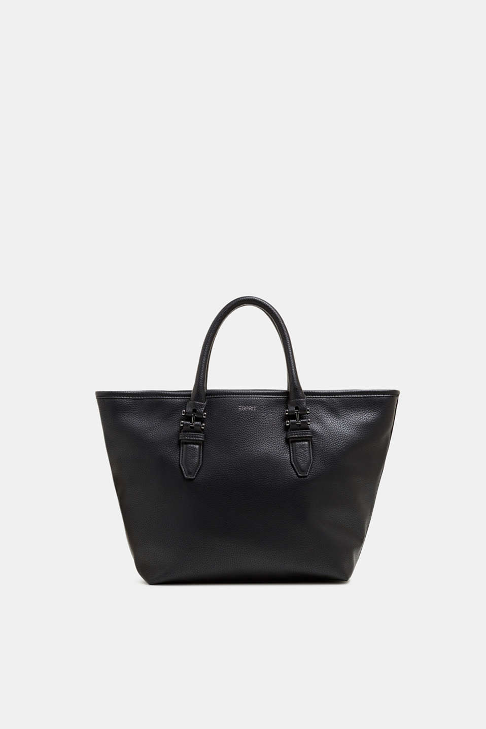 Faux leather shopper, BLACK, detail image number 0