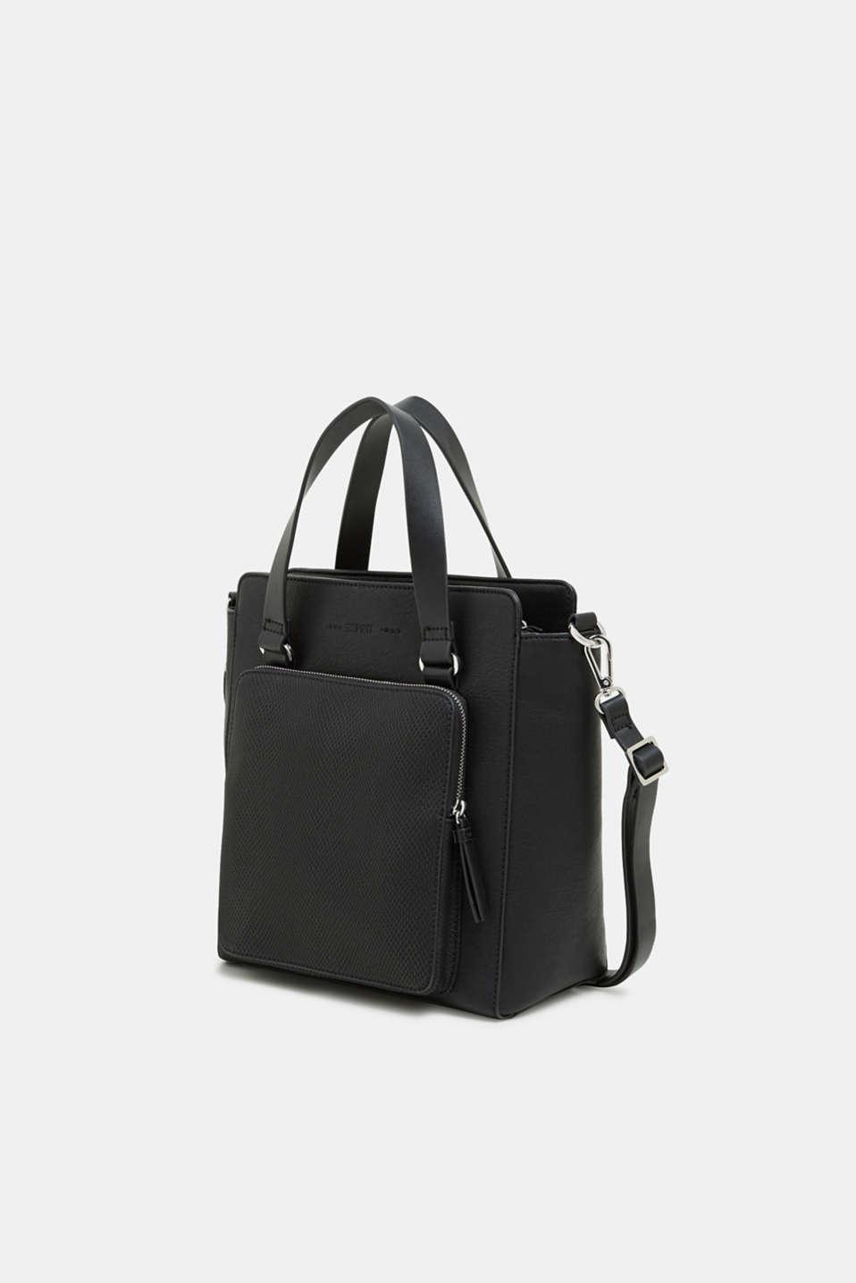 Faux leather handbag, BLACK, detail image number 2