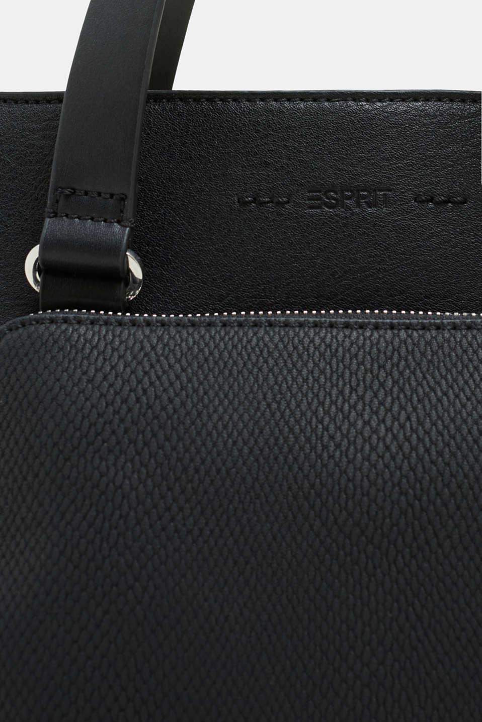 Faux leather handbag, BLACK, detail image number 3