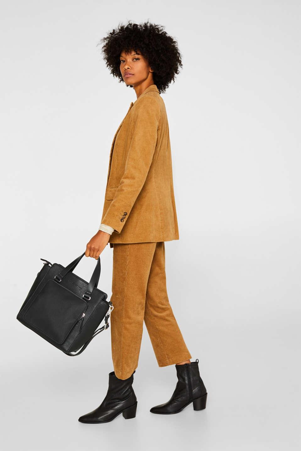 Faux leather handbag, BLACK, detail image number 1