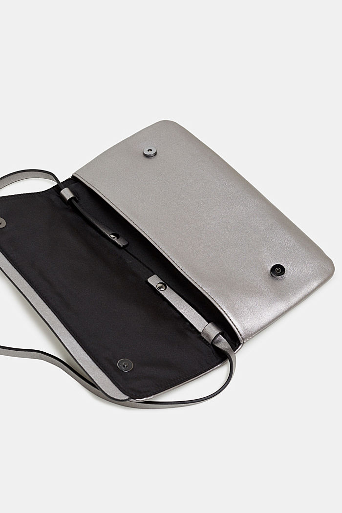 Metallic pochette in faux leather, GUNMETAL, detail image number 4