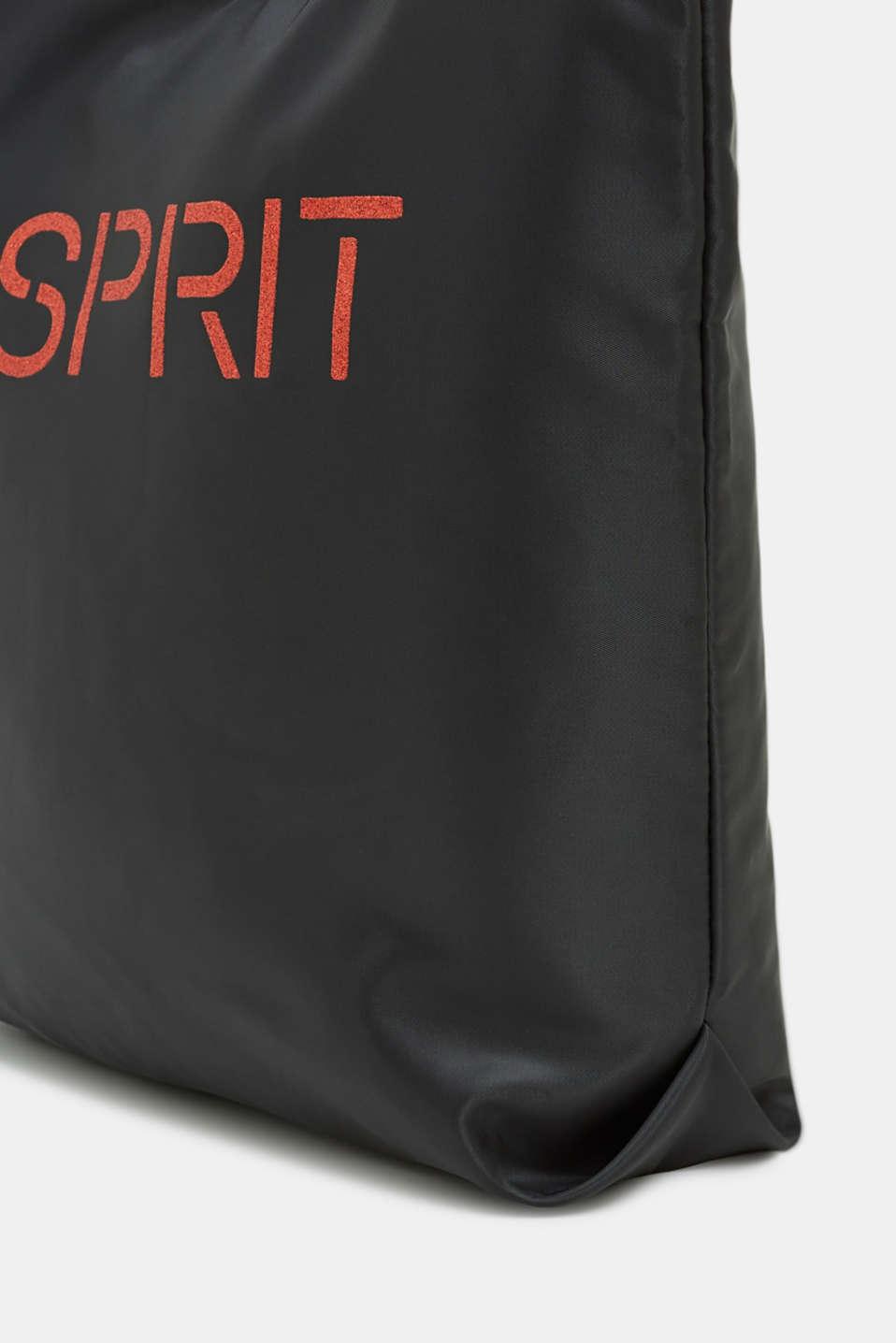 Satin shopper with a glitter logo, BLACK 2, detail image number 3
