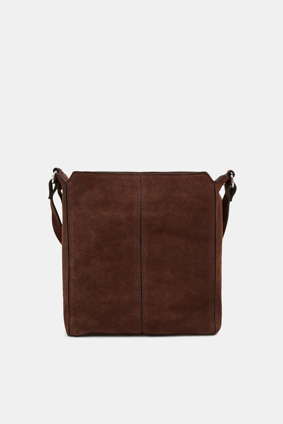 Leather shoulder bag, DARK BROWN, detail image number 5