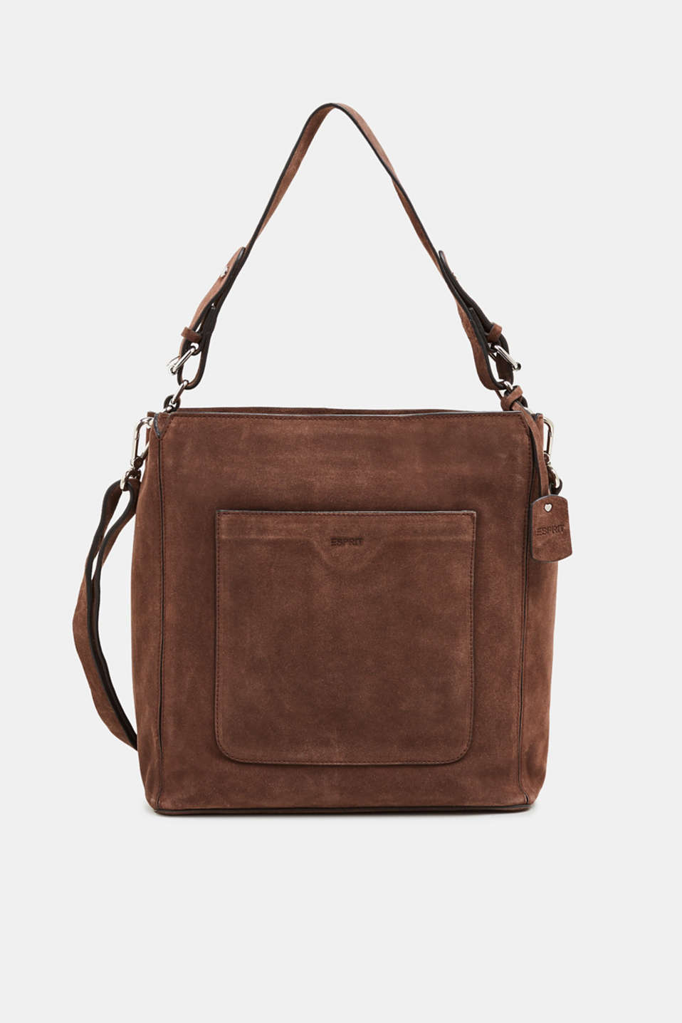 Leather shoulder bag, DARK BROWN, detail image number 0