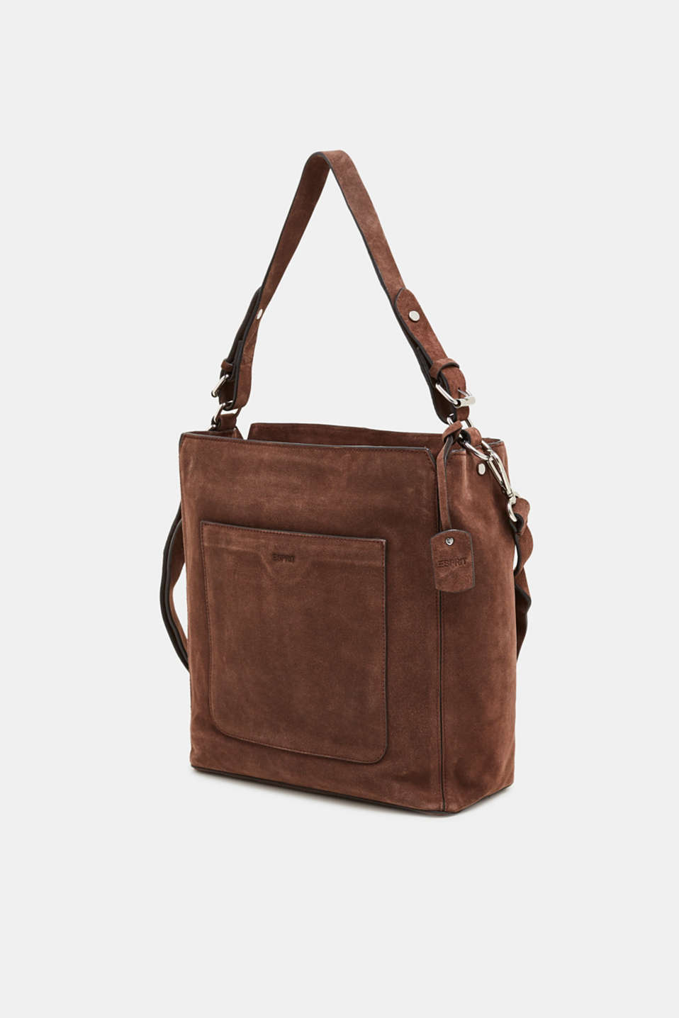 Leather shoulder bag, DARK BROWN, detail image number 2