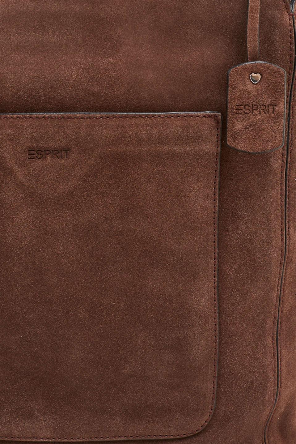 Leather shoulder bag, DARK BROWN, detail image number 6