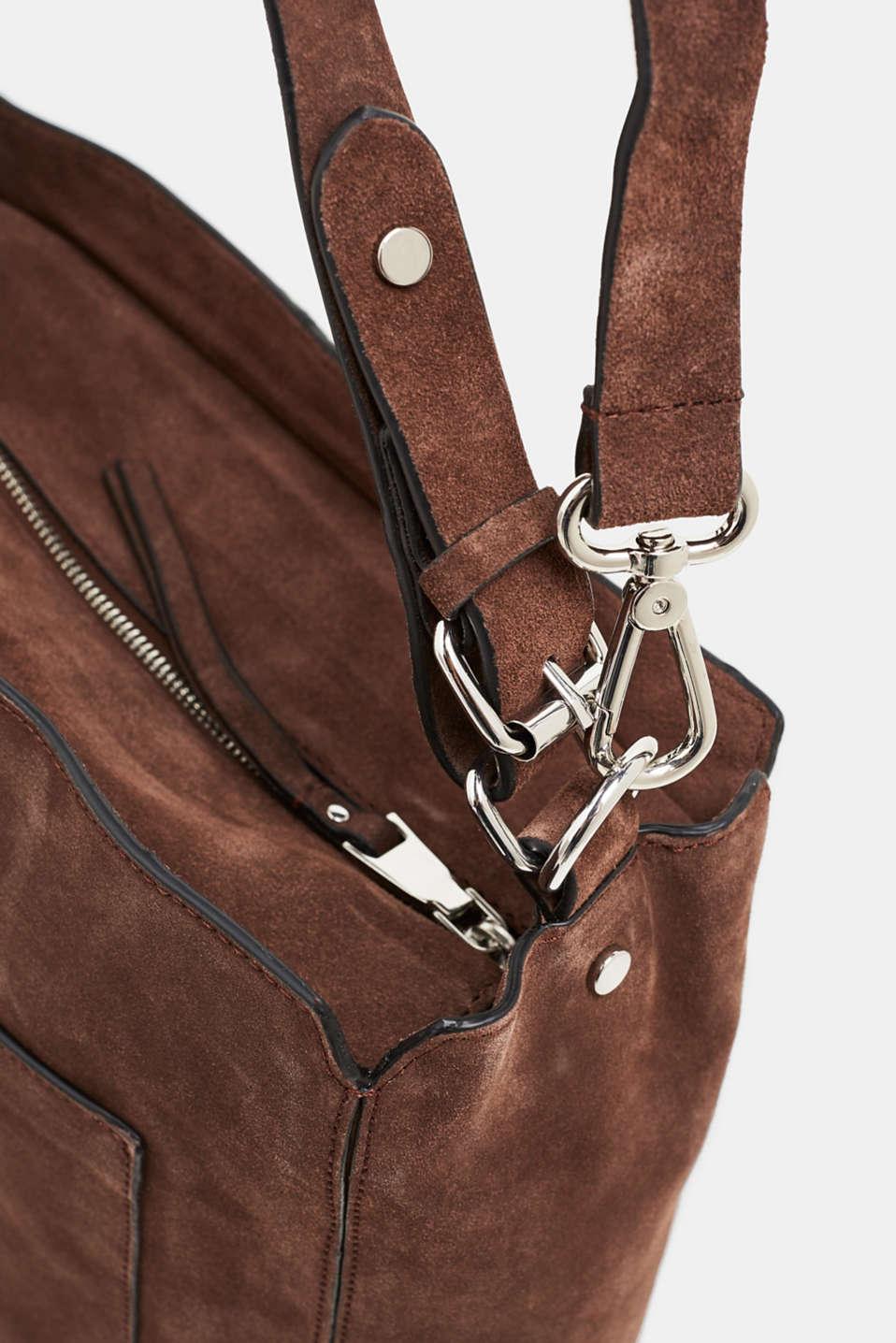 Leather shoulder bag, DARK BROWN, detail image number 3