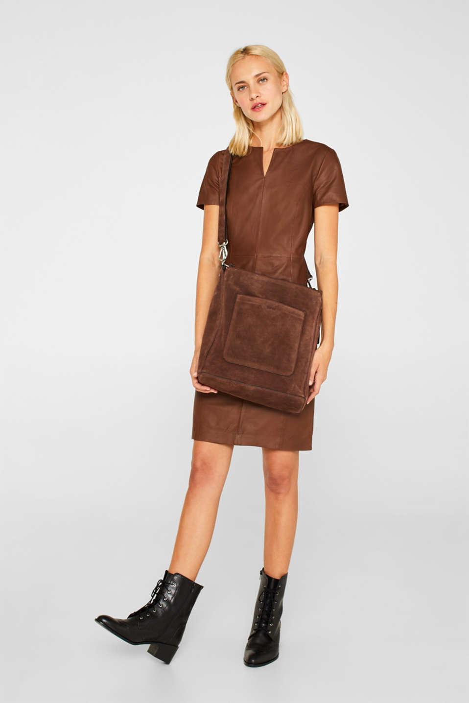 Leather shoulder bag, DARK BROWN, detail image number 1