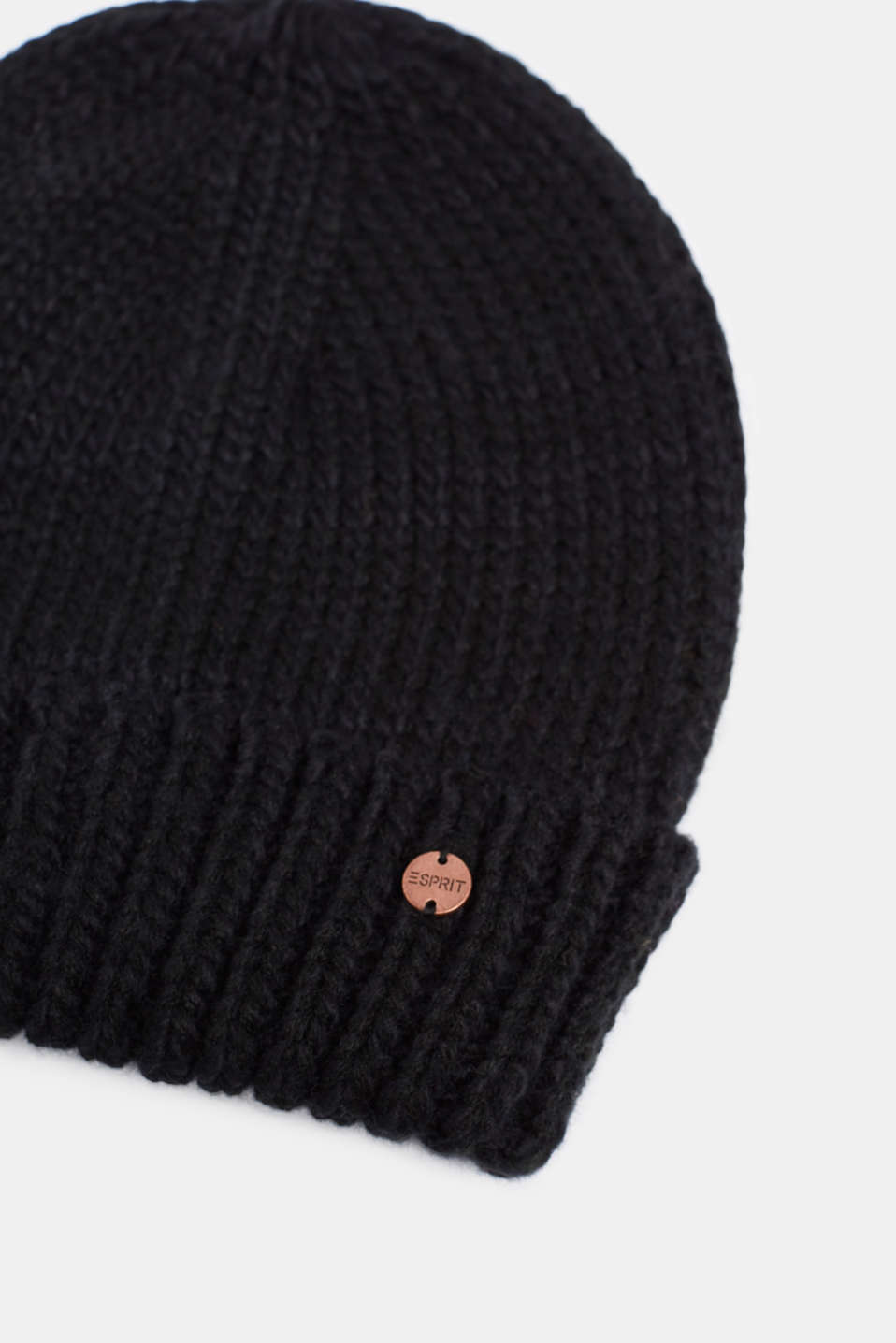 Beanie made of a chunky knit, BLACK, detail image number 1