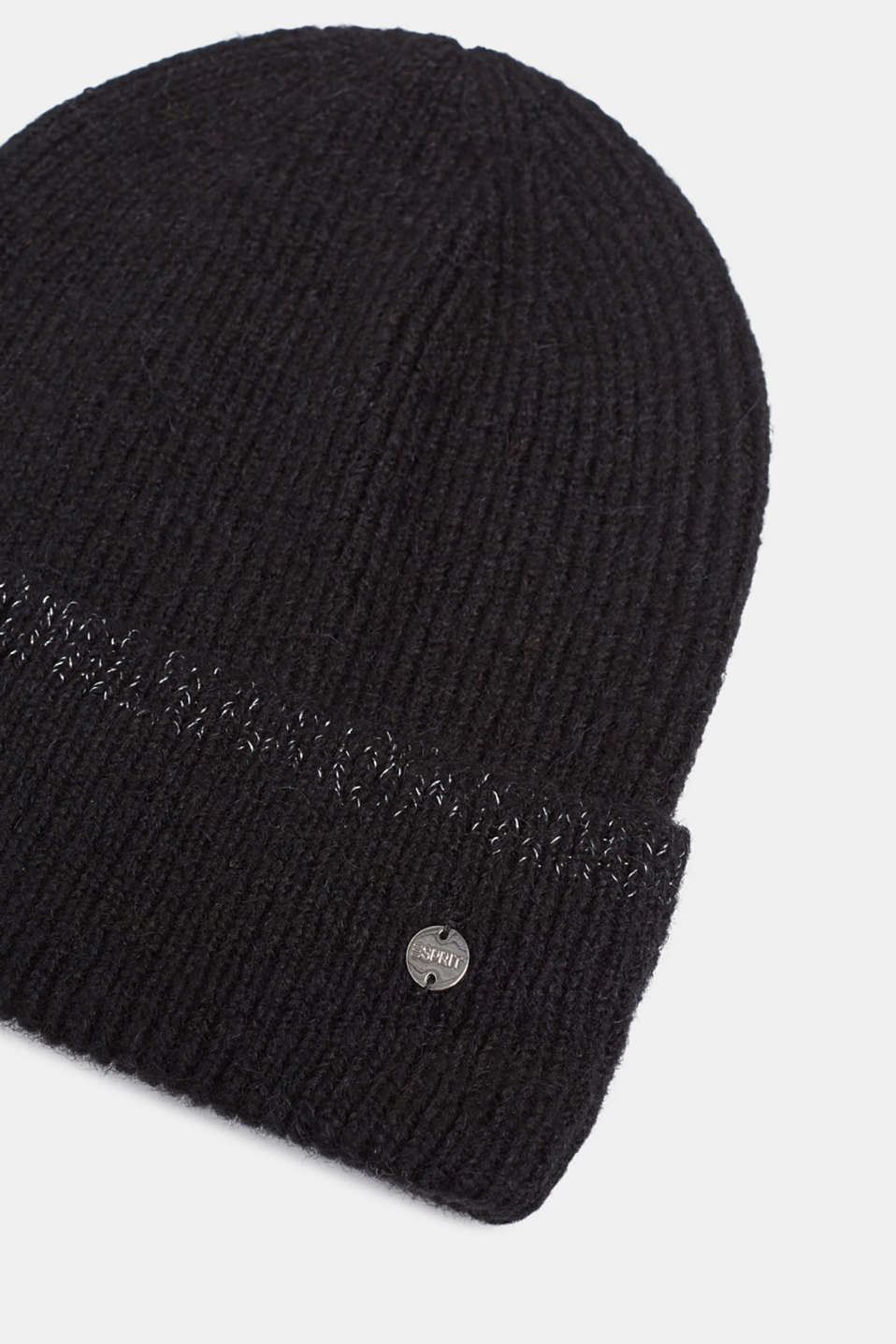 Alpaca blend: glittering knit beanie, BLACK, detail image number 1