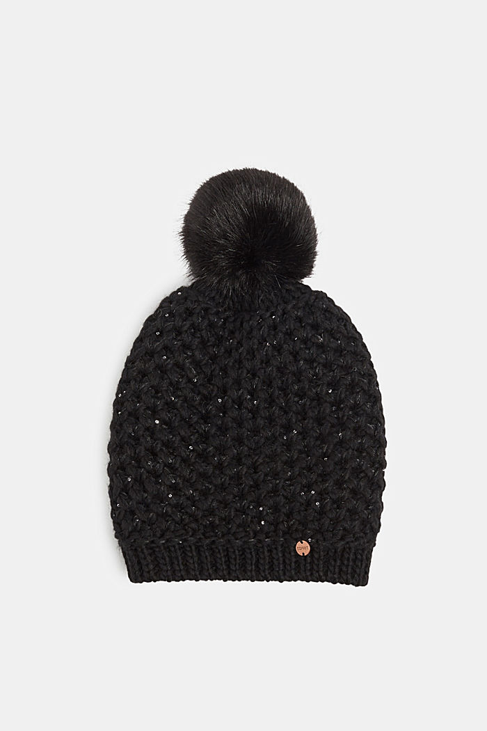Containing wool and alpaca: hat with faux fur pompom, BLACK, detail image number 0