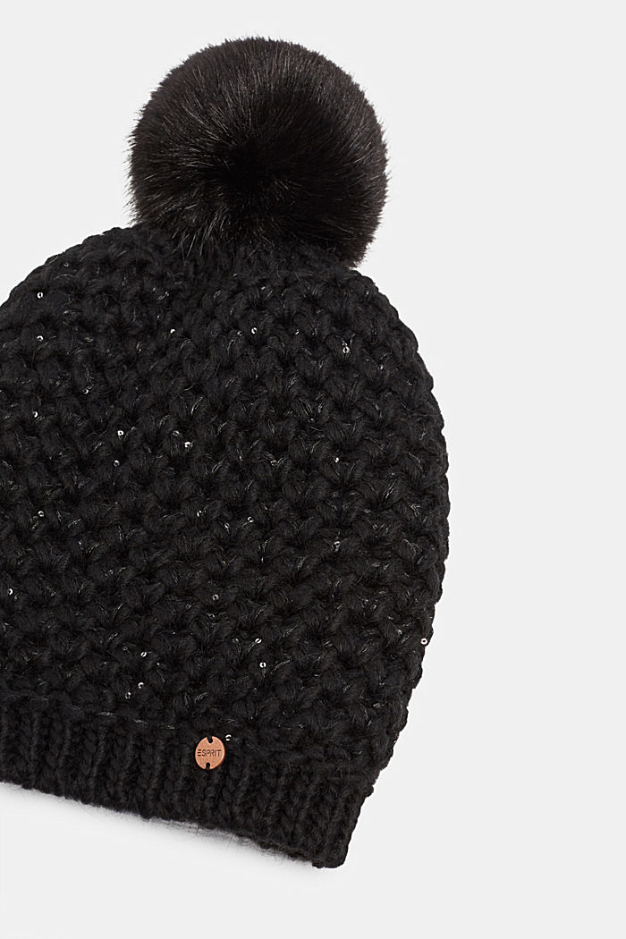 Containing wool and alpaca: hat with faux fur pompom, BLACK, detail image number 1