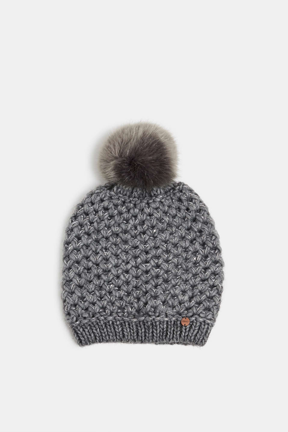 Esprit - Containing wool and alpaca: hat with faux fur pompom