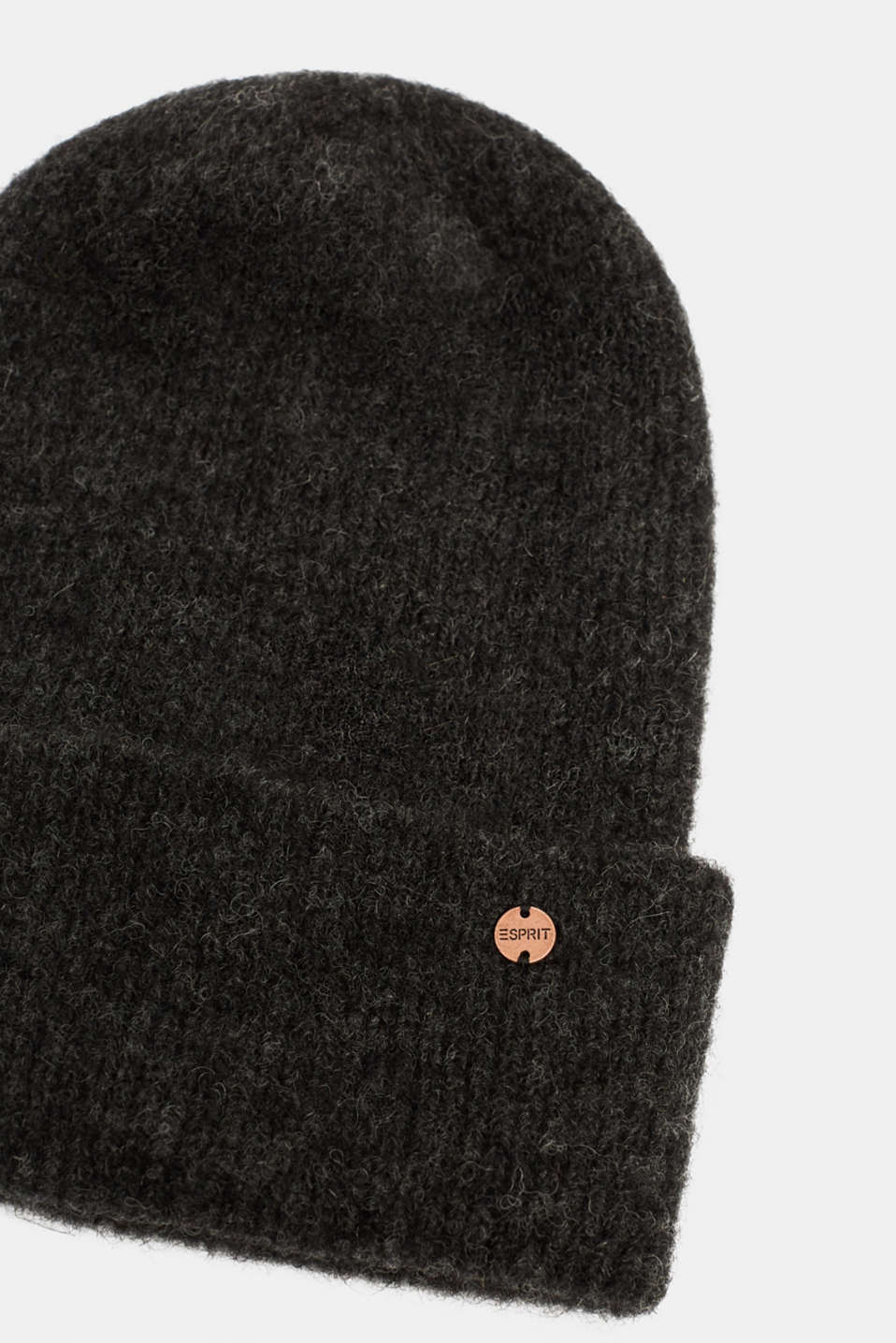 Alpaca blend with wool: hat with a turn-up cuff, DARK GREY, detail image number 1