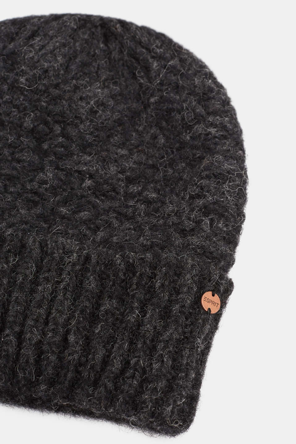 Alpaca blend with wool: hat with a turn-up cuff, ANTHRACITE, detail image number 1