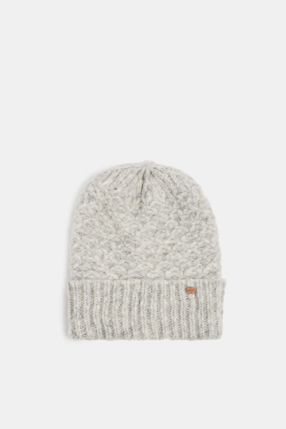 Alpaca blend with wool: hat with a turn-up cuff, GREY, detail image number 0