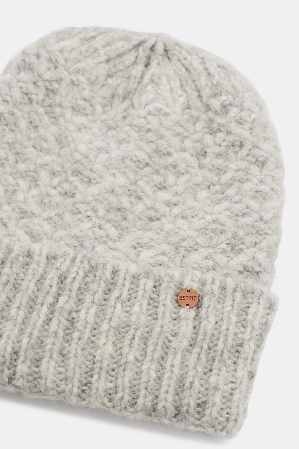 Alpaca blend with wool: hat with a turn-up cuff, GREY, detail image number 1