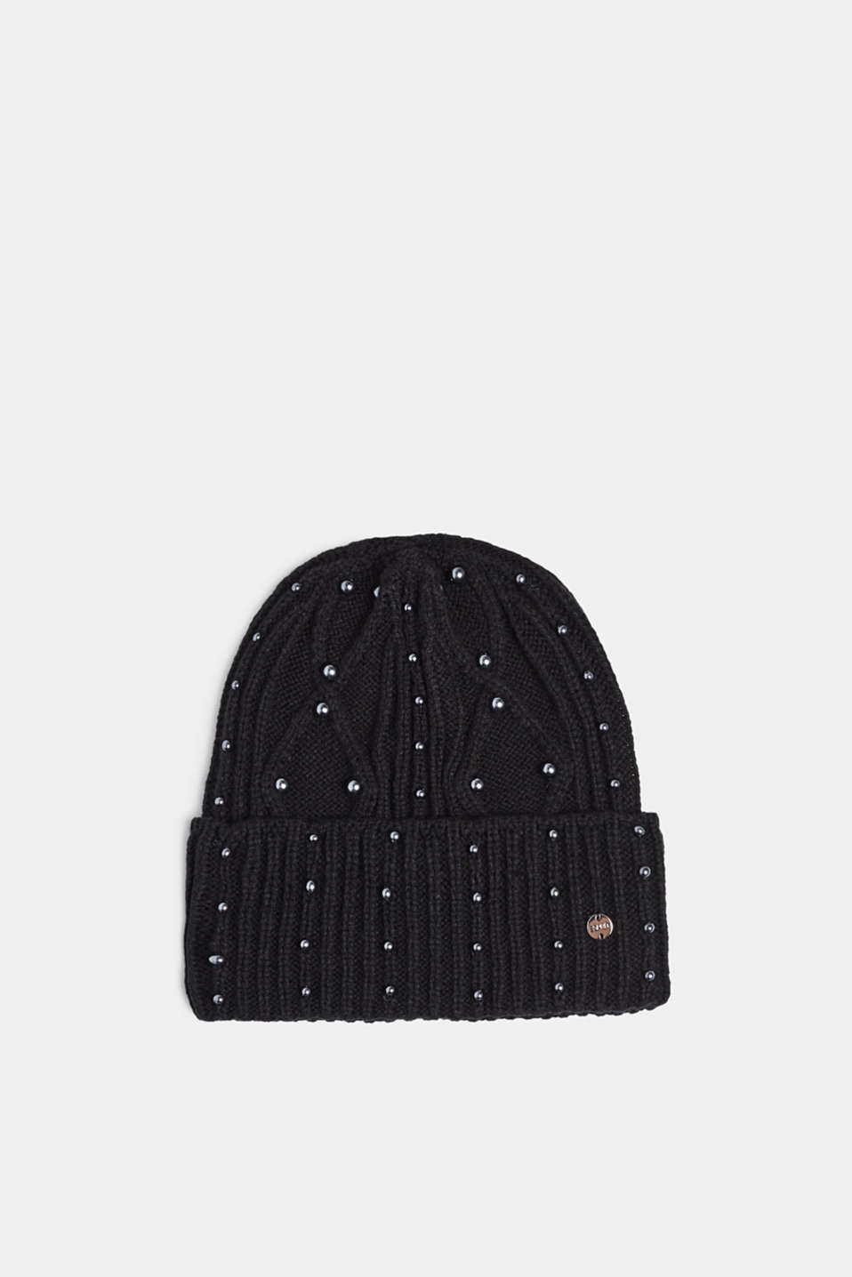 Textured knit beanie trimmed with beads, BLACK, detail image number 0