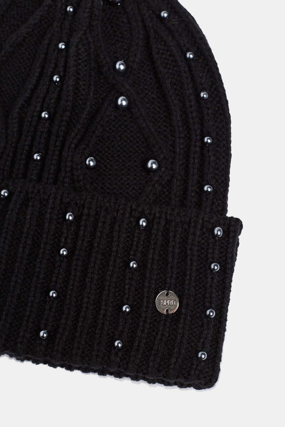 Textured knit beanie trimmed with beads, BLACK, detail image number 1
