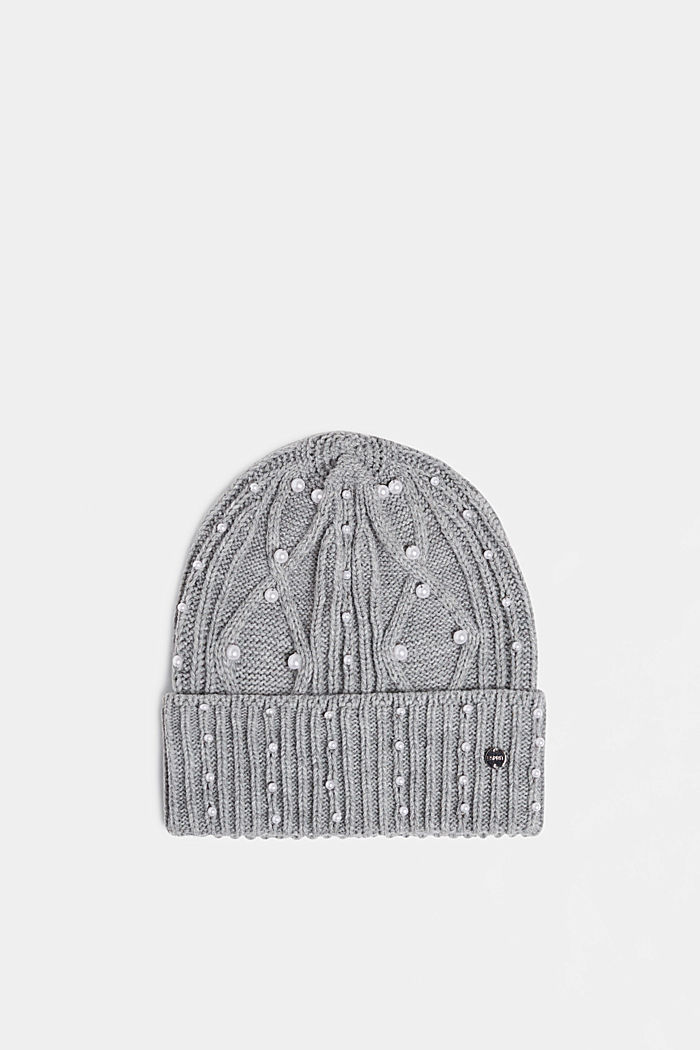 Textured knit beanie trimmed with beads, GREY, detail image number 0