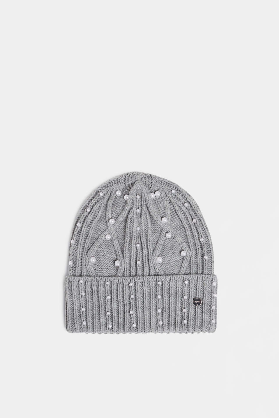 Esprit - Textured knit beanie trimmed with beads