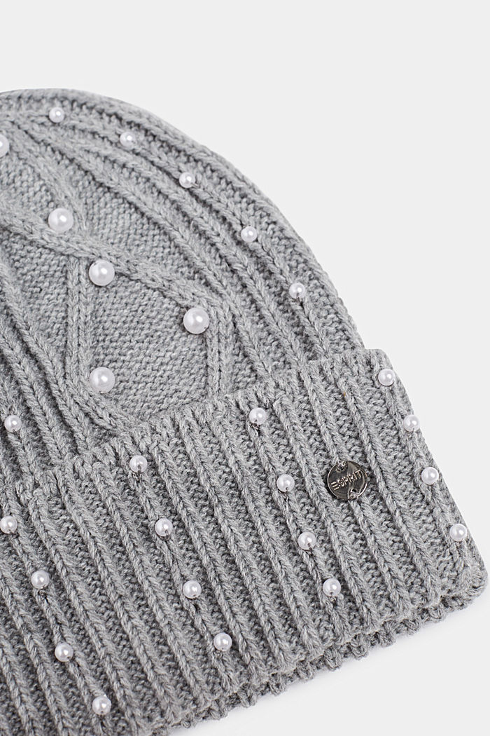 Textured knit beanie trimmed with beads, GREY, detail image number 1