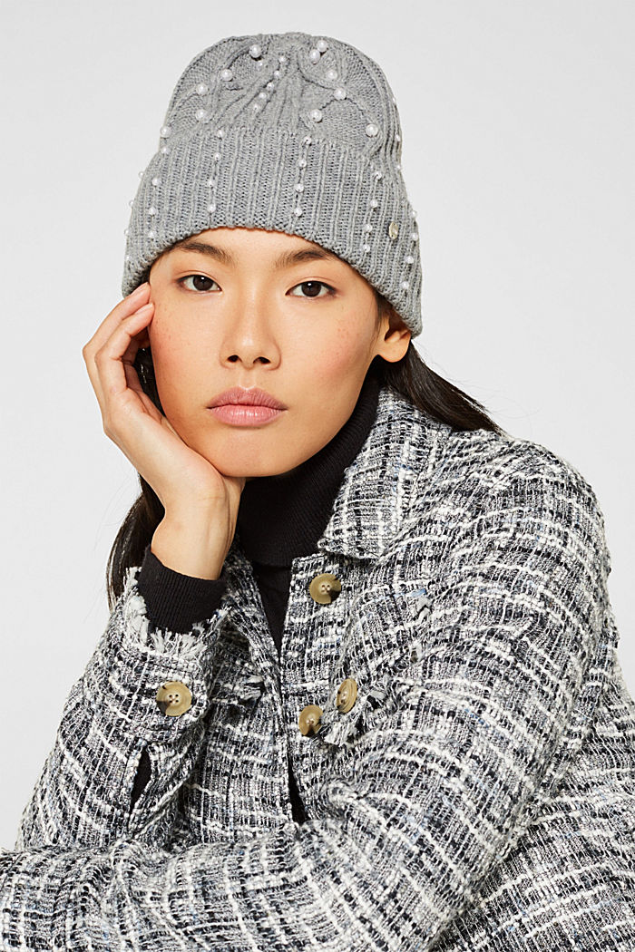 Textured knit beanie trimmed with beads, GREY, detail image number 2