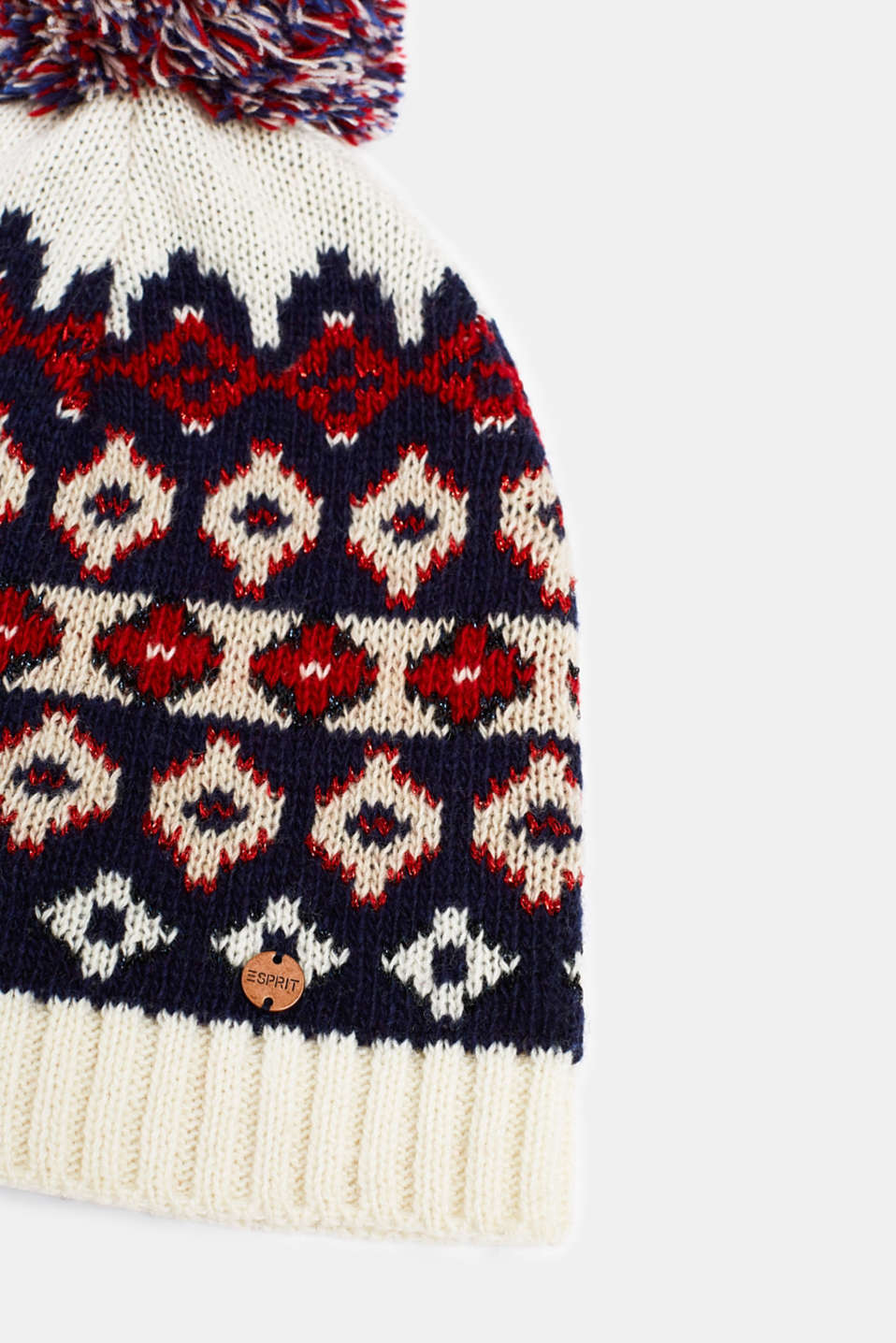 With wool: Beanie with an Xmas motif, OFF WHITE 2, detail image number 1